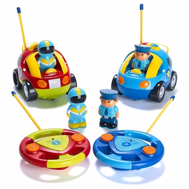 Prextex Pack Of Two Cartoon RC Police Car And Race Car