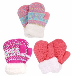 Arctic Paw 3 Pairs Kids' Sherpa Lined Knit Mittens