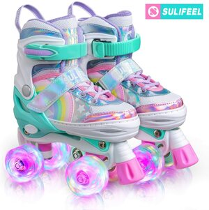 SULIFEEL Rainbow Unicorn Light up Roller Skates