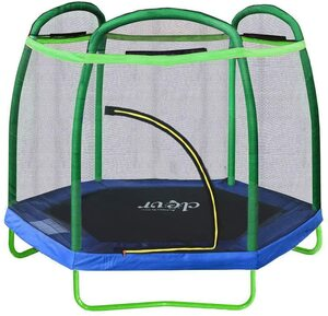 Clevr 7ft Trampoline with Safety Enclosure - Best Indoor & Outdoor Pick